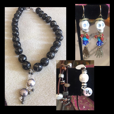 Therapy for Smiles by Camilla Campbell. Various pieces of handmade jewelry.