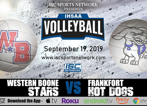 9/19/19 Western Boone at Frankfort - IHSAA Volleyball