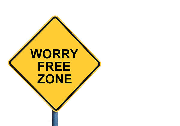 Yellow roadsign with WORRY FREE ZONE mes
