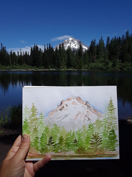 Mt.Hood, Watercolor illustration by Mari