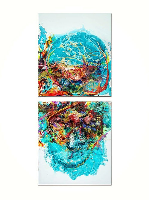 Original Resin Art ~ Set of 2 Ocean Energy on Cotton Canvas