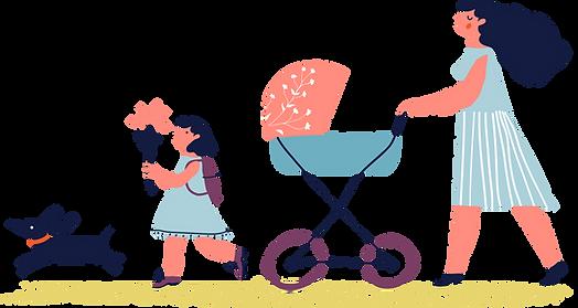 tekening van moeder, kinderwagen, kind en hond