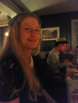 Mary with her cracker hat