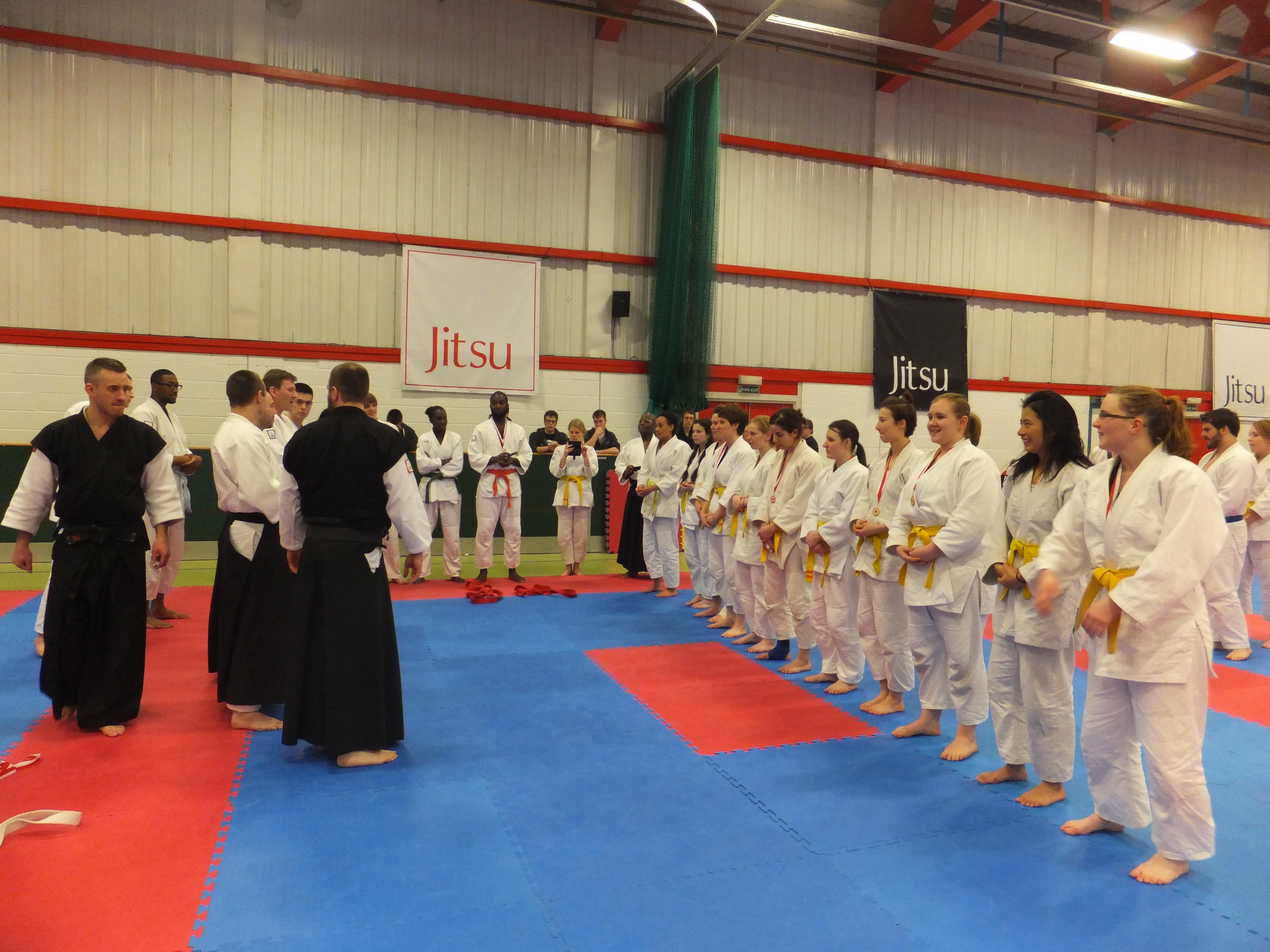 Yellow belts receiving medals
