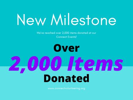 New Milestone! 2,000 Items Donated!
