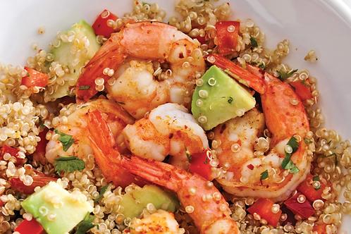 La salade de quinoa et gambas grillés