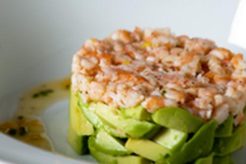 Le tartare d'avocat et crevettes japonaises