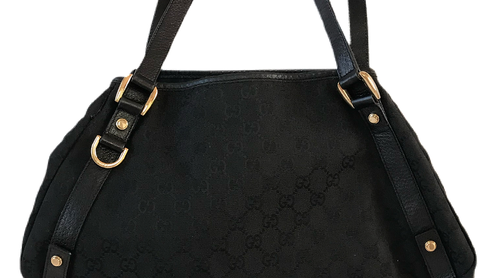 Black Cotton Canvas Gucci Bag
