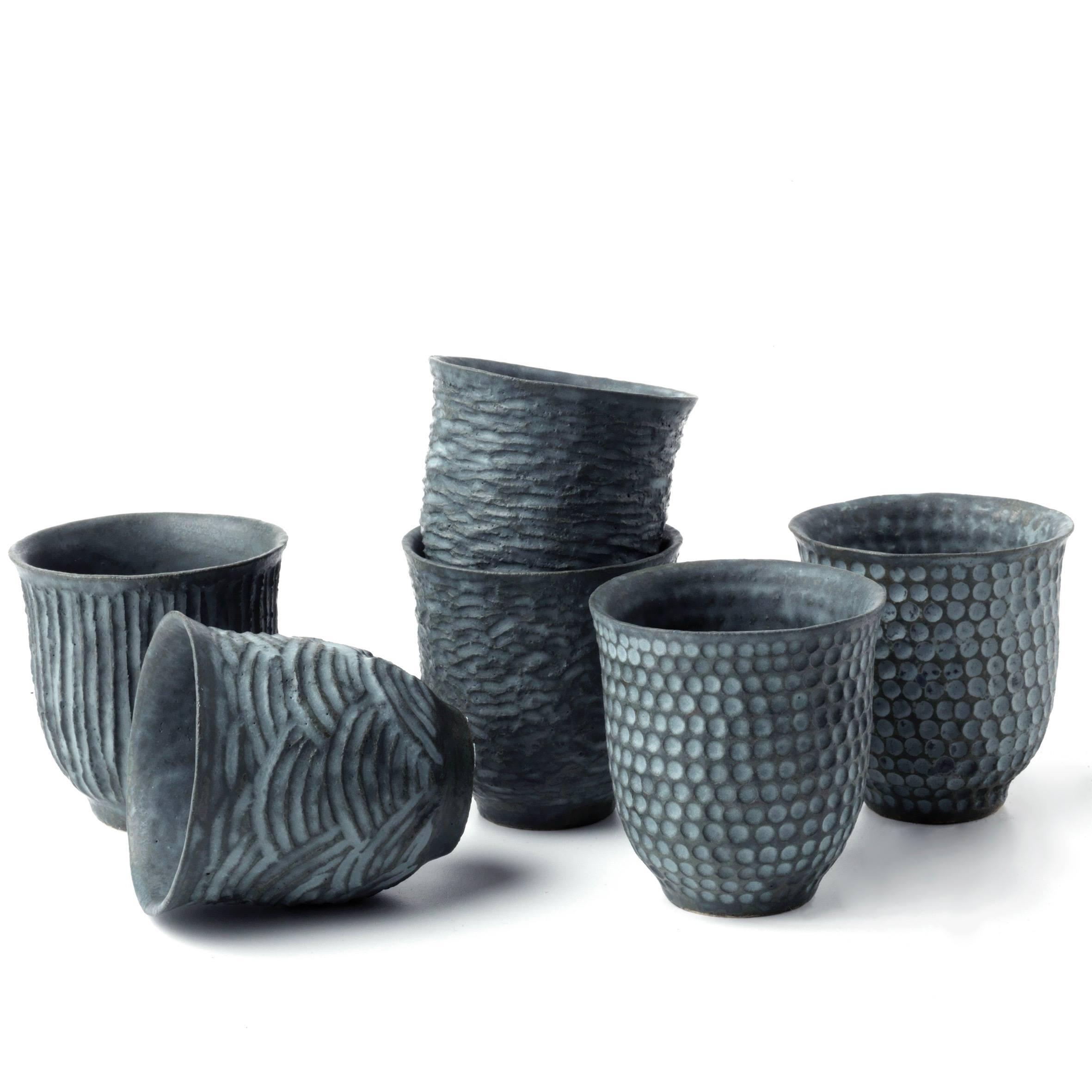 tasses gris bleu