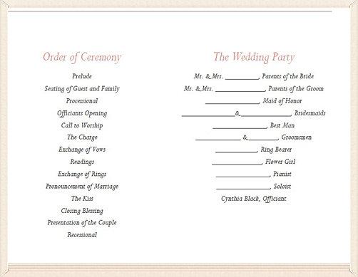 weddingsbycynthia ORDER OF SERVICES