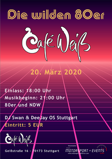 """""""Die wilden 80er"""" Party im Cafe Weiß"""