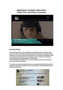 Quadro Branco, Films, Anna Carvalho, Curto circuito