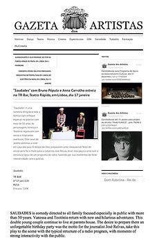 Gazeta dos Artistas, Saudades, teatro, Anna Carvalho