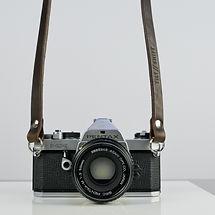 Slim Brown Leather Camera Shoulder Strap