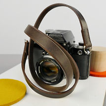 Stitched Slim Brown Leather Camerta Strap