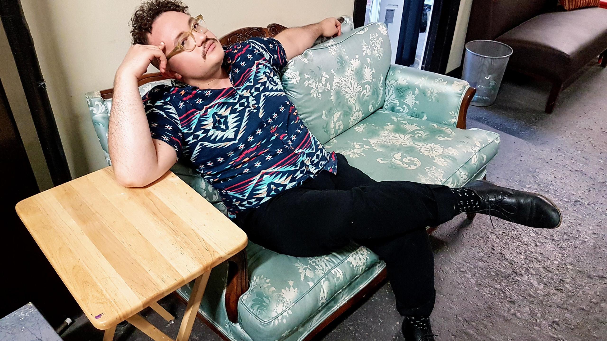 Matt preparing for a pre-shoot nap.