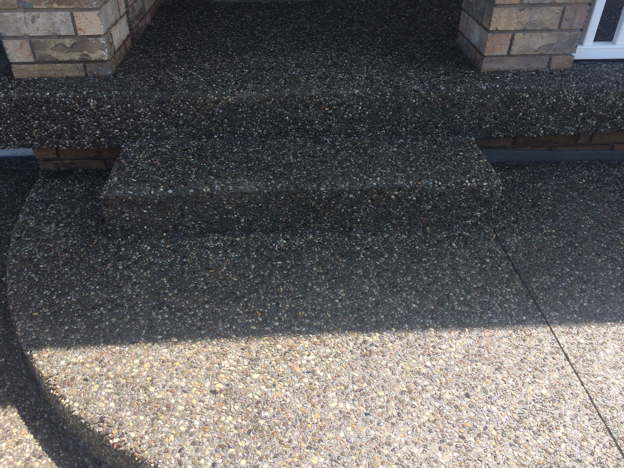 Aggregate Step & Covered Porch