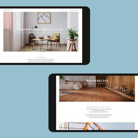 Konzept & Gestaltung einer Hompage und Website   Ansichten auf dem iPad im Querformat  BARTHOLMEY - RAUMAUSSTATTUNG, STYLE & MORE  Webdesign: Bussenius & Reinicke  Entwurf & Gestaltung: Ekkehart Bussenius
