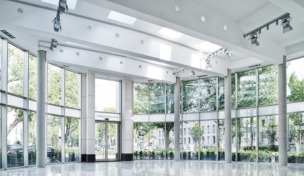 Blick in das Kronenburg-Forum für Events und Veranstaltungen in Dortmund. K2 Bürocenter in Dortmund, Büro und Ausstellungsflächen mieten, Gewerbefläche mieten, Praxis mieten