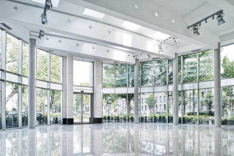 Blick in das Kronenburg-Forum in Dortmund. K2 Bürocenter in Dortmund, Büro und Ausstellungsflächen mieten, Gewerbefläche mieten, Praxis mieten