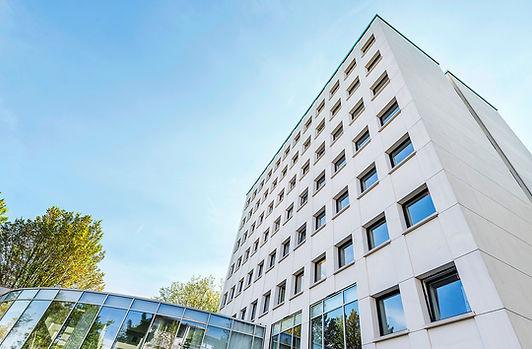 Aussenasich des Büroturm des K2-Bürocenter in Dortmund. K2 Bürocenter in Dortmund, Büro und Ausstellungsflächen mieten, Gewerbefläche mieten, Praxis mieten