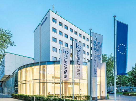 Aussenansicht des K2-Bürocenter in Dortmund. K2 Bürocenter in Dortmund, Büro und Ausstellungsflächen mieten, Gewerbefläche mieten, Praxis mieten