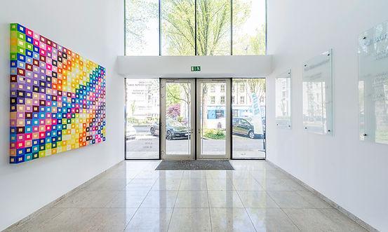 Eingangsbereich des K2 Bürocenter in Dortmund. K2 Bürocenter in Dortmund, Büro und Ausstellungsflächen mieten, Gewerbefläche mieten, Praxis mieten