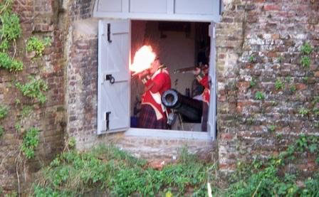 Firing out of the lower gun floor.