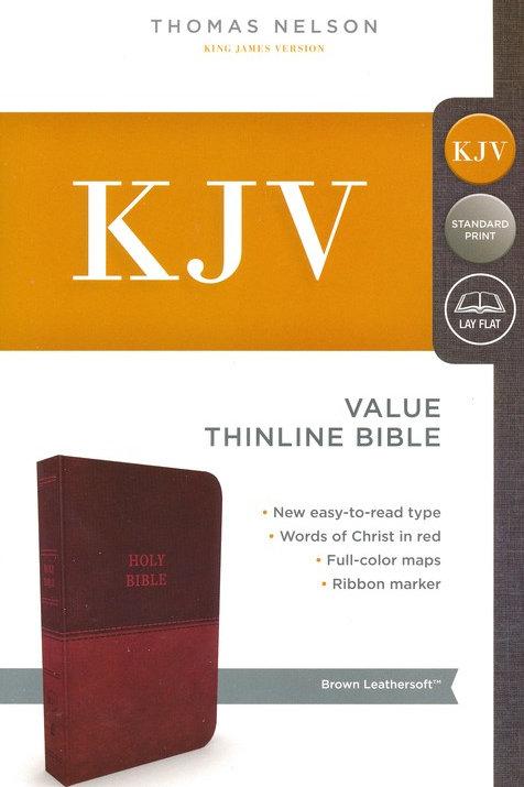 KJV, Value Thinline Bible, Standard Print, Imitation Leather, Brown, Red Letter