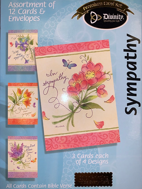 Sympathy Cards, KJV, Watercolor Art, Box of 12