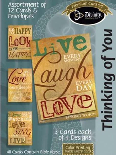Thinking of You Cards, Words on Parchment, Box of 12