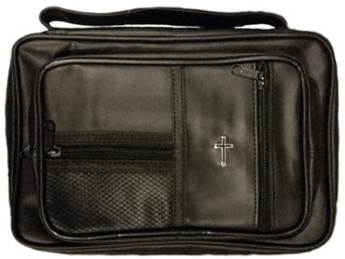 Cross Bible Cover Lux Leather Black Large
