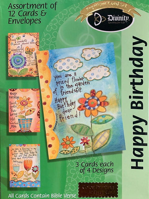 Happy Birthday, Flower Patch, Box of 12