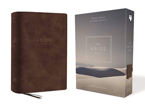 The NET Abide Bible, Comfort Print, Brown soft leather-look