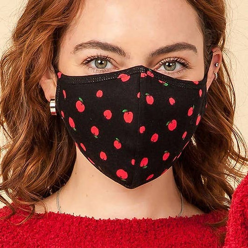 Face Mask Black with Red Apple Print