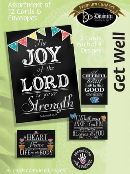 Get Well Cards, Chalk Art, Box of 12