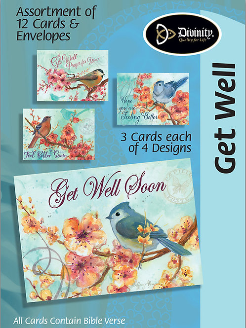 Get Well Cards, NKJV, Birds & Flowers, Box of 12