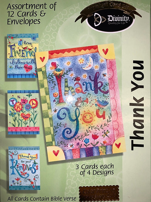 Thank You Cards, KJV, Whimsical Words, Box of 12