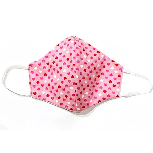 Kids Face Mask Pink Hearts
