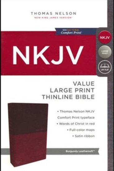 NKJV Value Thinline Bible Large Print, Imitation Leather, Burgundy