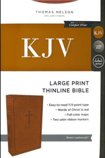 KJV, Thinline Bible, Large Print, Leathersoft, Brown, Comfort Print