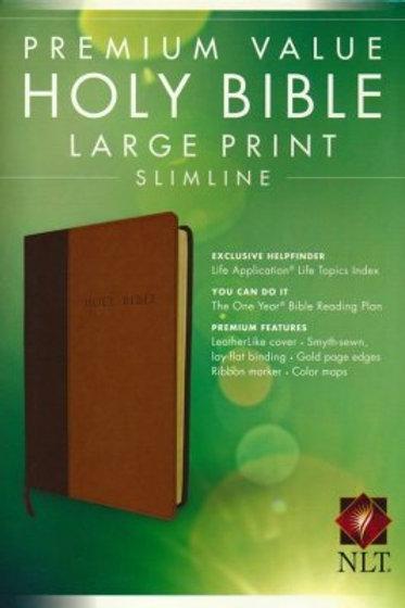 NLT Premium Value Large Print Slimline Bible, TuTone Leatherlike Brown/Tan