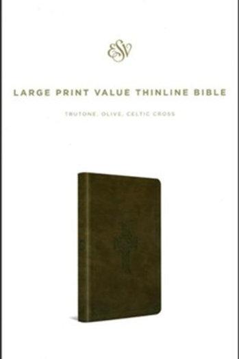 ESV Large Print Value Thinline Bible (TruTone, Olive, Celtic Cross Design), Leat