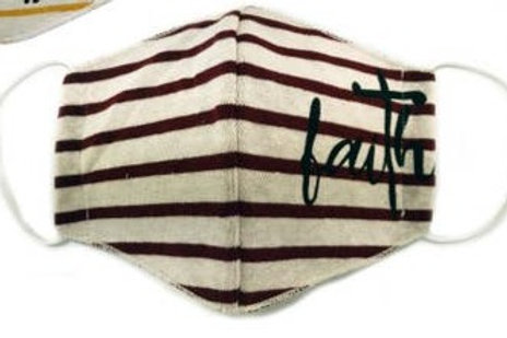 Face Mask Faith Burgundy Striped