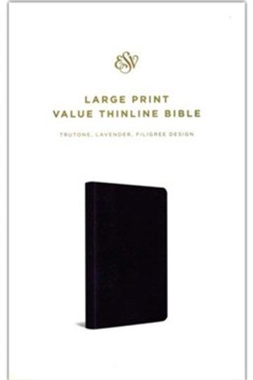 ESV LG Print Value Thinline Bible, Soft leather-look, Purple w Filigree Design