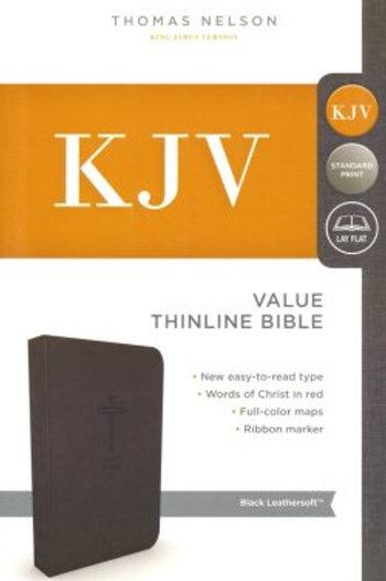 KJV, Value Thinline Bible, Standard Print, Imitation Leather, Black, Red Letter