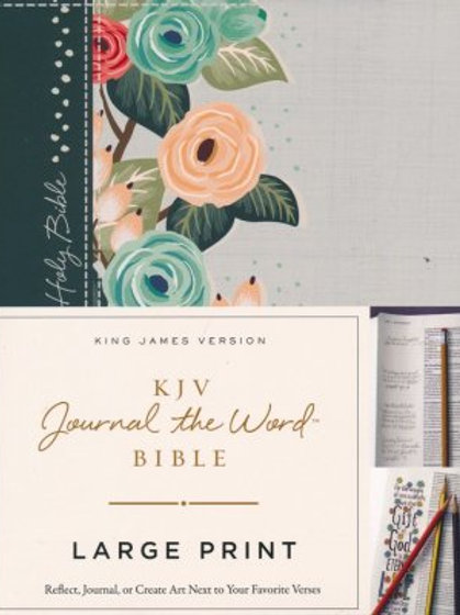 KJV Journal the Word Bible, Lg. Print, Hardcover, Green Floral Cloth, Red Letter