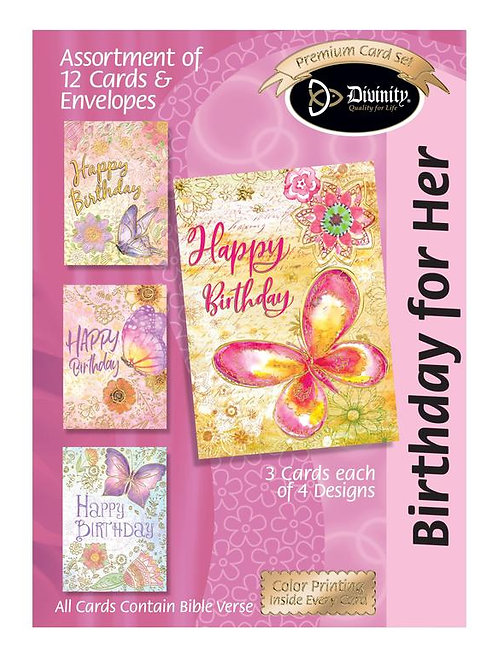 Birthday for Her, Butterflies with Gold Accents, Box of 12