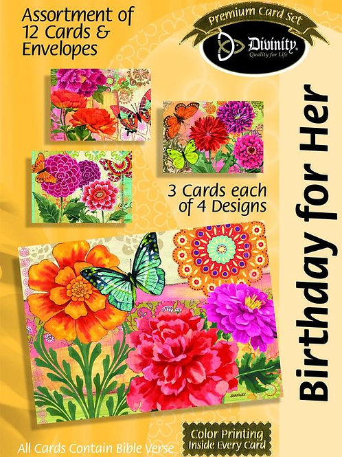 Birthday for Her, Flowers with Butterflies, Box of 12