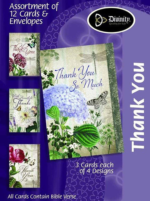 Thank You Cards, KJV, Flowers & Butterflies, Box of 12